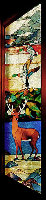 stained glass scene, deer, geese 12 feet tall