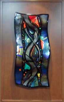 contemporary, abstract fused glass wall art panel, slumped